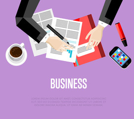 Business template. Top view office workspace, vector illustration. Overhead view of businessman working with financial documents on purple background. Office workplace banner with space for text