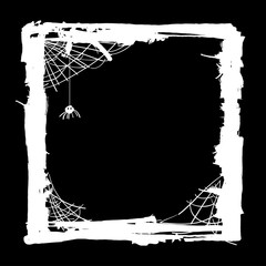 Halloween abstract background with spiders in web.