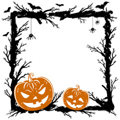 Halloween abstract background with pumpkins, black spiders