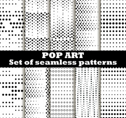 Dotted, Pop Art seamless pattern background. Pop art dotted retro style patterns. Vector illustrations.