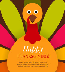 Cute colorful cartoon turkey bird background.