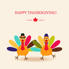 Cute colorful cartoon of two dancer turkey bird for Happy Thanks
