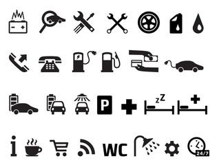 Roadside services transportation icons vector set