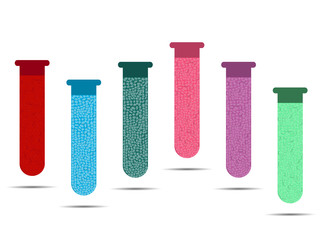 Tubes with colored liquids on a white background. Vials of vaccine, analyzes and viruses. Vector illustration.