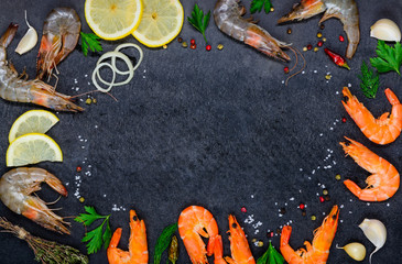 Canvas Prints Seafoods Copy Space Frame with Seafood Shrimps and Ingredients