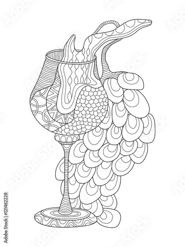 "coloring pages wine food animals people | ""Wine glass with grapes coloring page for adults in ..."
