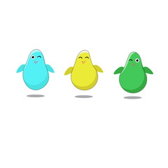 Three funny birds on a white background. It can be used for design of cards