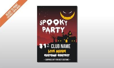 dark red moon spooky flyer poster halloween party template vector