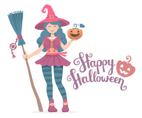 Vector colorful halloween illustration of witch character with b