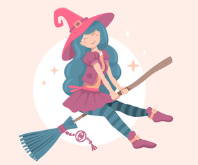 Vector colorful halloween illustration of witch character with h