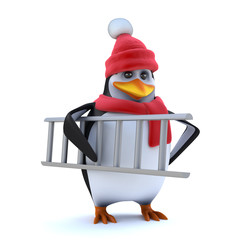 3d Winter penguin brings his ladder