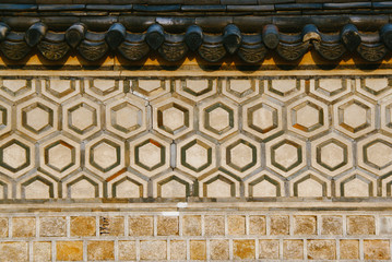 Pattern of an old brick / stone wall in traditional masonry style. Seoul, South Korea.