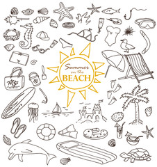 Hand-drawn doodles of the summer on the beach objects: water, surfing, cream, swimming, cap, crab, jellyfish, dolphin. Line art illustrations.