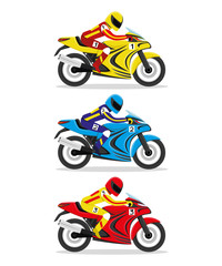 Racing motorcycles.