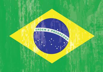 brazilian flag grunge vector