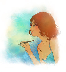 Illustration of a young  beautiful woman writing with pen