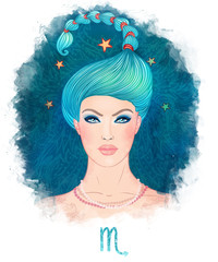 Illustration of Scorpio zodiac sign as a beautiful girl. Vector