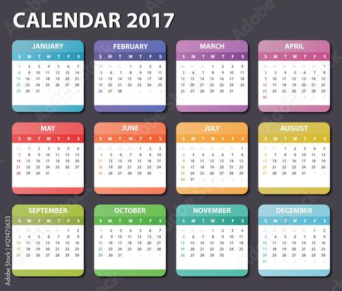 calendar 2017 starts sunday organizer 2017 vector calendar 2017 square calendar design