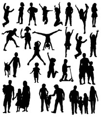 Silhouette of Activity of the Child and a Happy Family, art vector design