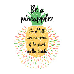 Motivational decorative print with pineapple