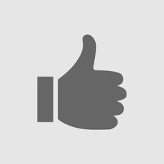 Thumb up vector logo icon. Like simple isolated sign symbol. Thumbs up.