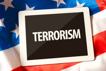 Terrorism on tablet and the US flag