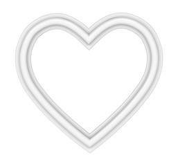 White heart picture frame isolated on white. 3D illustration.