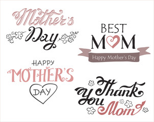 Hand-drawn lettering. Different greeting templates. Happy mother's day logos. Greeting text for the Mother's day holiday cards.