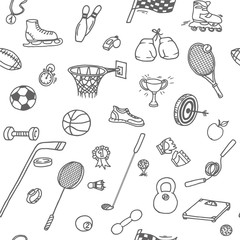 Doodle seamless pattern with different sport objects: football, basketball, golf, racket, boxing gloves, rollers, skates etc.