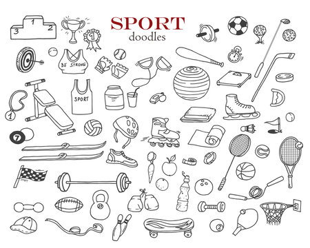 Hand-drawn doodles of the sport objects: football, basketball, golf, skates, racket, boxing gloves, rollers, skates, baseball, skis etc. Line art illustrations.