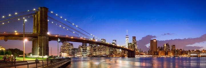 Fotomurales - New York Brooklyn Bridge Panorama mit Manhattan skyline
