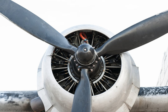 Engine and propeller of a vintage aircraft