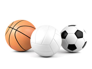 Volleyball, soccer ball, basketball, sport balls isolated on white background