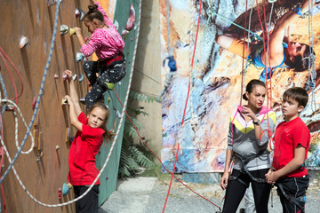 Little climbers warming up before competitions