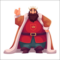 king wearing crown and mantle, cartoon vector illustration isolated in white background. king tall and fat old white skinned, kind and happy
