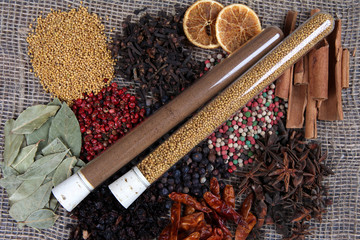 Spices and condiments in tubes on sackcloth background
