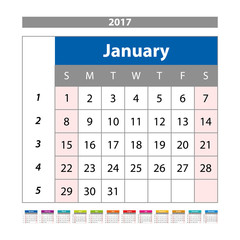 Calendar Planner for 2017 Year. Design Template with Place for Photos and Notes. January. Week Starts Sunday vector