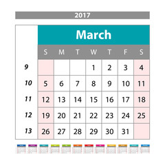 Simple digital calendar for March 2017. Vector printable calendar. Monthly scheduler. Week starts on Sunday. English calendar