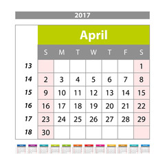 Simple digital calendar for april 2017. Vector printable calendar. Monthly scheduler. Week starts on Sunday. English calendar