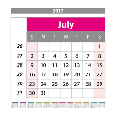 Desk Calendar for 2017 Year. July. Vector Design Print Template with Place for Photo. Week Starts Monday