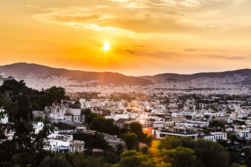 view of the sunset over Athens, Greece