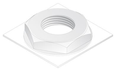 crew-nut, isometric projection, engineering graphics