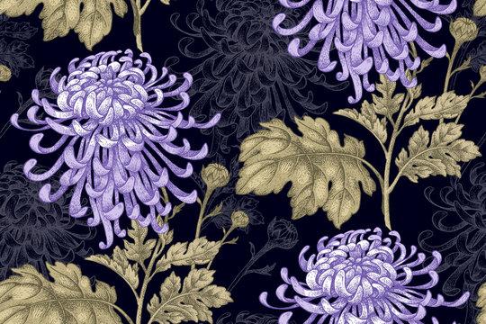 Seamless pattern with chrysanthemum flowers.