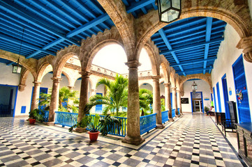 Colonial building interior in Old Havana , Cuba