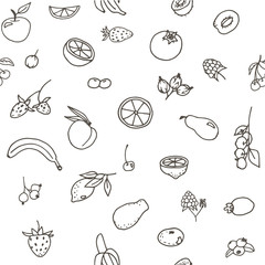 Doodle seamless pattern with different fruits: banana, apple, strawberry, apricot, pear, berries, lemon, orange etc. Line art illustrations.