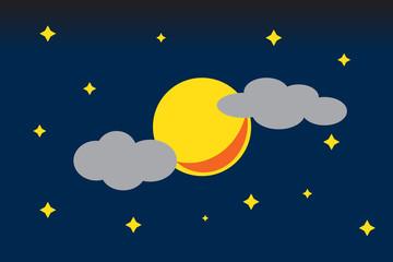 Moon and stars on night sky