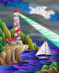 Illustration in stained glass style with the seascape, lighthouse and sailboat on the background of the night sky and the sea