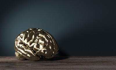 goldenes Gehirn als Symbol für Geist und Gedanken