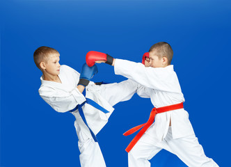 Two karateka are hitting punches and kicks