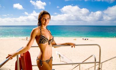 Woman in a bikini on a beach